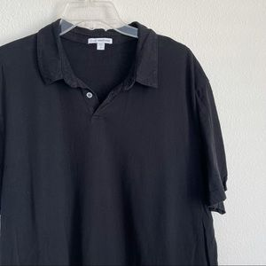 James Perse Sueded Jersey Polo Shirt